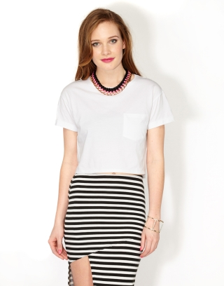 WHITE CROPPED LOOSE TEE