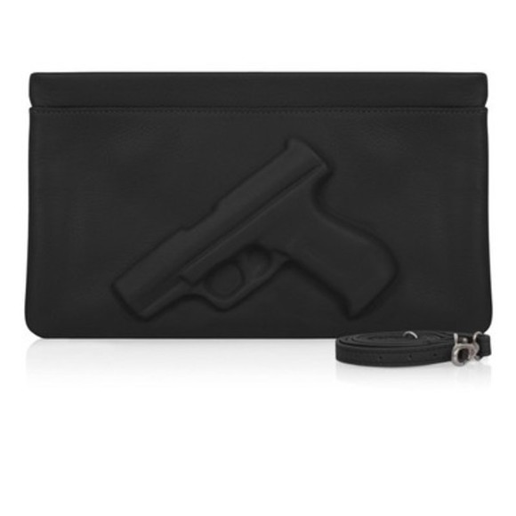 bag black bag gun clutch gun bag handbag gold chain cool bag small bag ingraved gun
