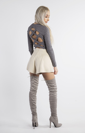 top,open back,crop tops,open back top,High waisted shorts,thigh high boots,suede