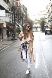b a r t a b a c,blogger,white jeans,camel coat,coat,t-shirt,jeans,shoes,shirt,sunglasses,bag,superga