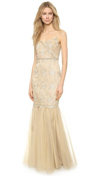 gown lace gold dress
