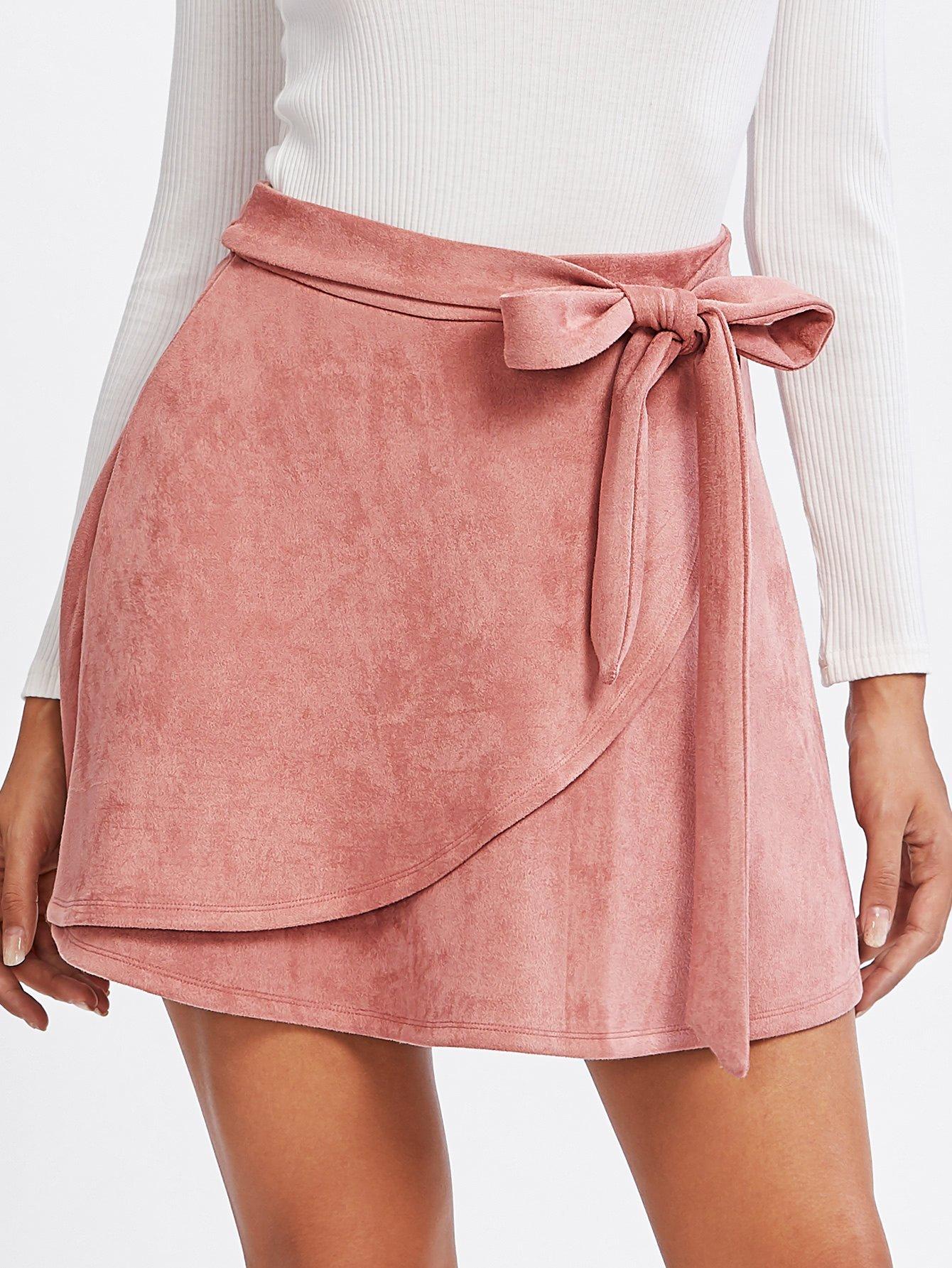 Ballerina Faux Suede Wrap Skirt