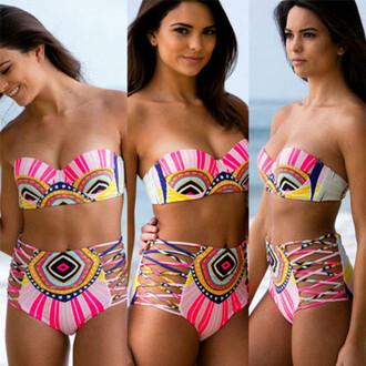swimwear summah breeeze bikini colorfil open side pink pink bikini colorful bikini neon bikini neon bright