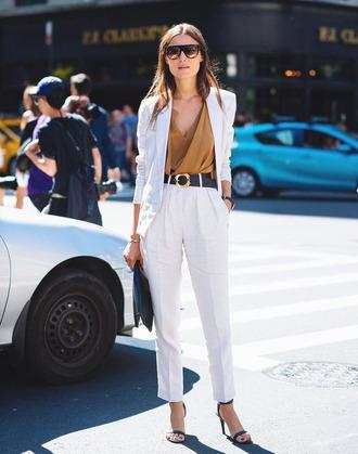jacket top blazer white blazer pants white pants sandals sandal heels black sandals bag belt sunglasses