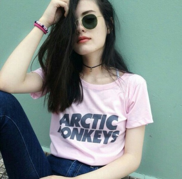 pink arctic monkeys t-shirt hipster blouse sunglasses shirt black