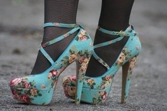 shoes floral shoes floral turquoise high heels platform heels ankle strap
