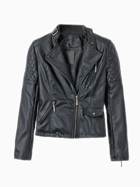 Leather Biker Jacket In Black | Choies