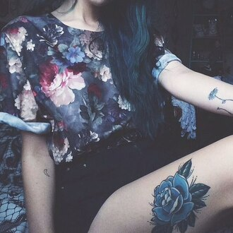 t-shirt flowers roses hipster tattoo purple blue silk floral