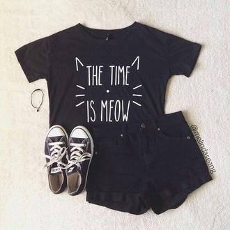 shirt cat shirt black t-shirt