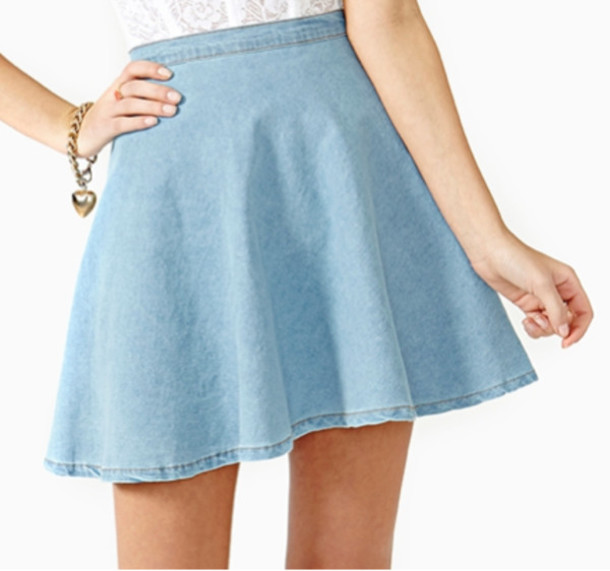 Amazon.com: May&Maya Women's A-line Light Wash Denim Skater Skirt ...