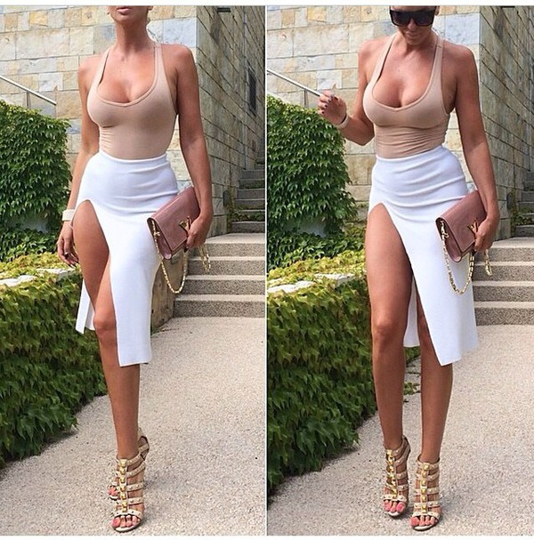nylon spandex wool cotton slit skirt white white skirt mini skirt side split slit sidesplitskirt skirt white cutout