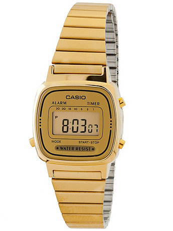 LA670WGA-9 Casio Gold Ladies Digital Watch  | American Apparel