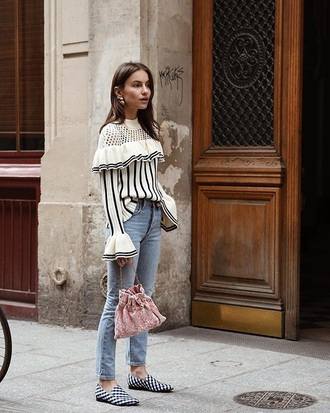 sweater striped sweater shoes loafers bag bucket bag stripes ruffle jeans denim blue jeans