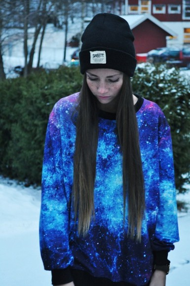 sweater galaxy hat beanie beanies hipsta galaxy print grunge hippie hipster clothes black cap