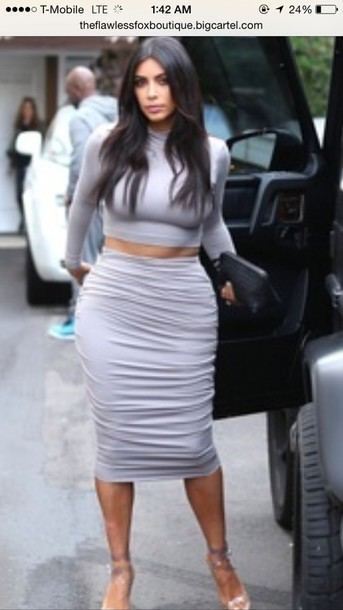 kim kardashian pencil skirt turtleneck grey skirt