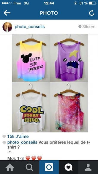 tank top mickey never stop dreaming multicolor yellow pink purple blue