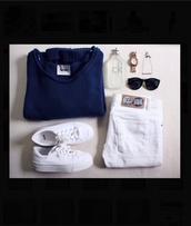 sweater,blue,navy,white,jeans,gold,acne studios,cheap monday,asos,calvin klein,shoes