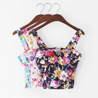 top floral tank top fashion cute summer outfits floral bustier bustier crop tops
