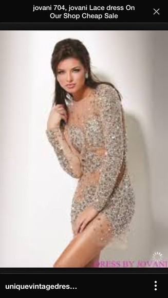 jovani prom dress sexy dress sequin dress classy dress sheer sequin dress short party dresses short prom dress sheer dress nude dress nude dress with crystals from sherri hill