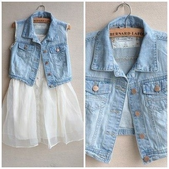 jacket denim denim vest simple cute vest sleeveless denim jacket dress white dress denim jacket