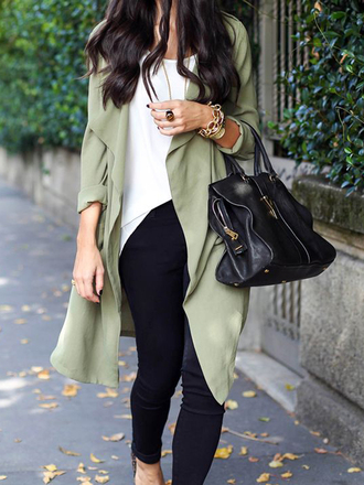 coat choies green lapel long-sleeve-trench
