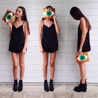 bag shoes black girl tumblr fashion eyeball green dress romper flowy dress purse eye