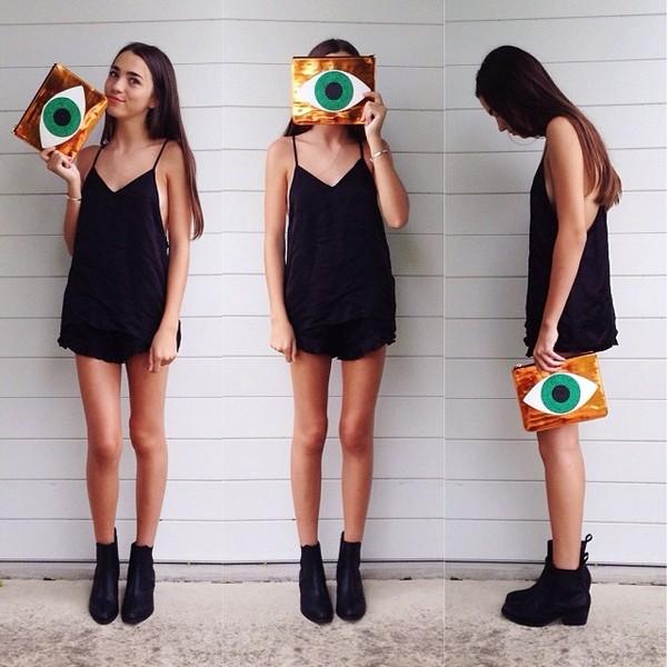 bag eyeball green black girl tumblr fashion shoes dress flowy dress romper eye purse