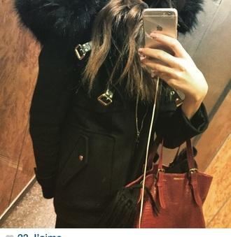 coat black coat fourrure