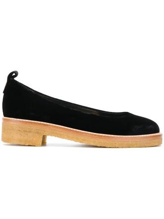 women flats leather black shoes