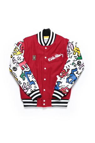 MAN & DOG VARSITY JACKET / RED X MULTI - JOYRICH Store