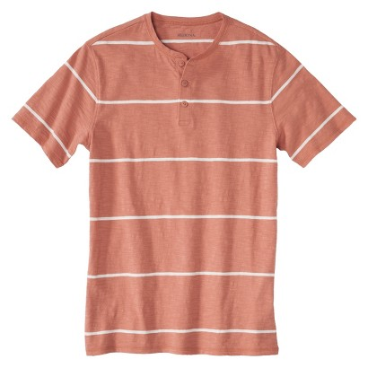 Men's Short Sleeve Striped Henley