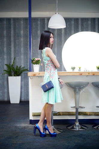 olivia lazuardy blogger dress mint blue shoes spring dress saint laurent bag shoes bag