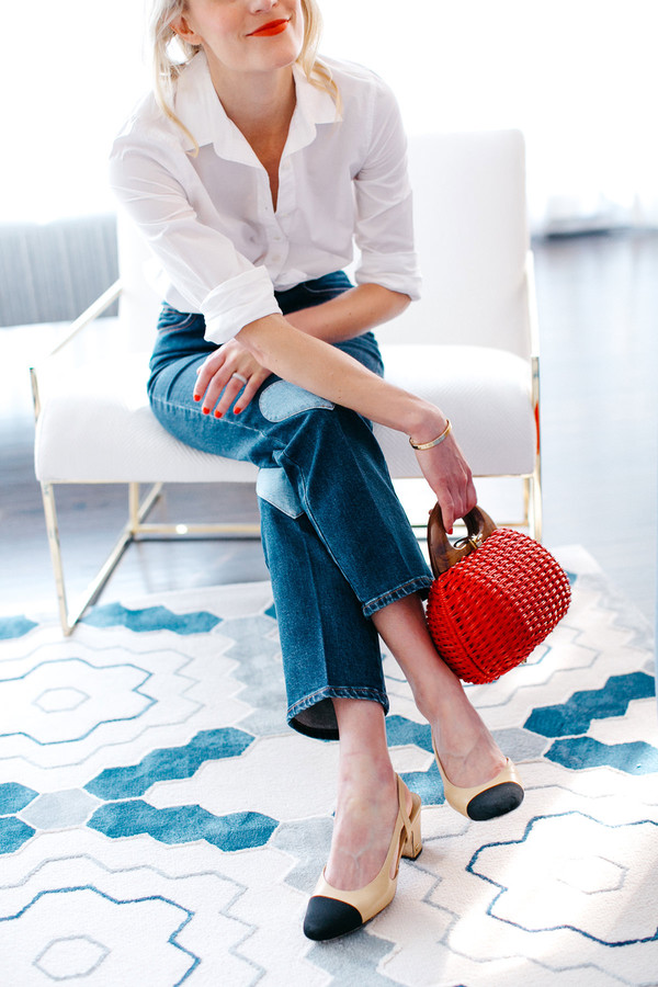luella & june blogger shirt jeans bag shoes make-up chanel slingbacks handbag red bag white shirt