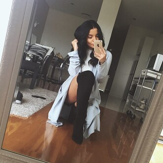 shoes black suede thigh high boots jacket