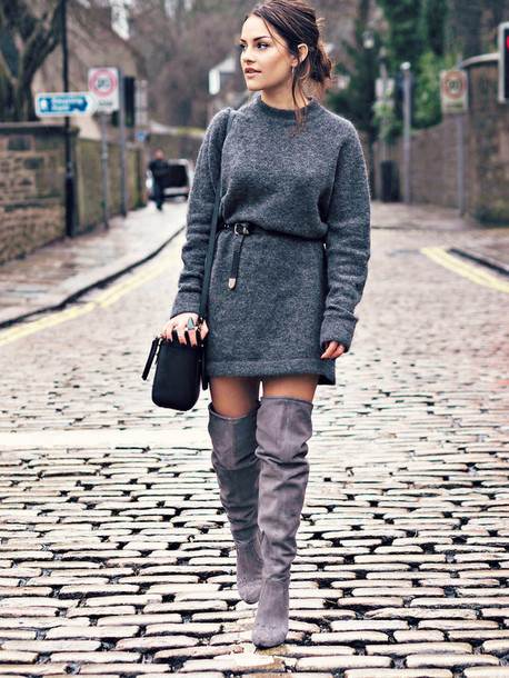 sweater grey sweater dress grey over knee boots black bag blogger black belt