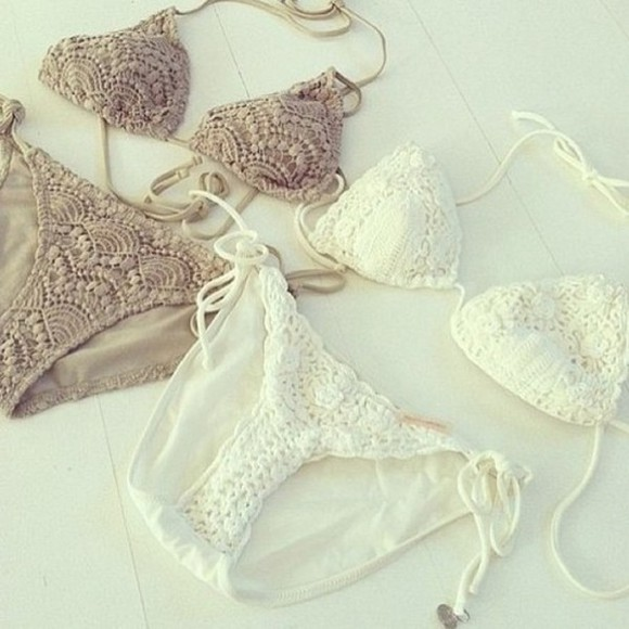 swimwear bikini lace summer white brown sea hot sun triangle swim white bikini white lace bikini white swimwear