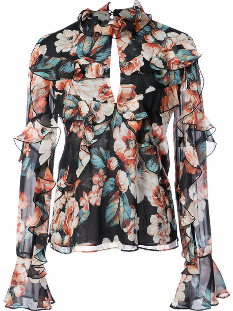 Nicholas blouse ruffle women black silk top