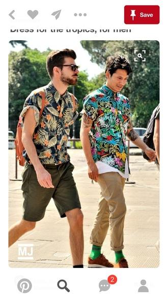 shirt hawaiian tropical summer floral mens shirt