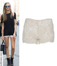 WOMENS LADIES CREAM BEIGE CROCHET LACE HOTPANTS TAILORED SHORTS ...