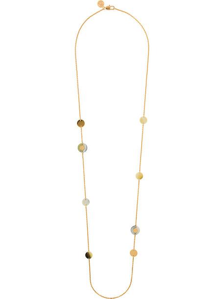 Tory Burch women necklace grey metallic jewels