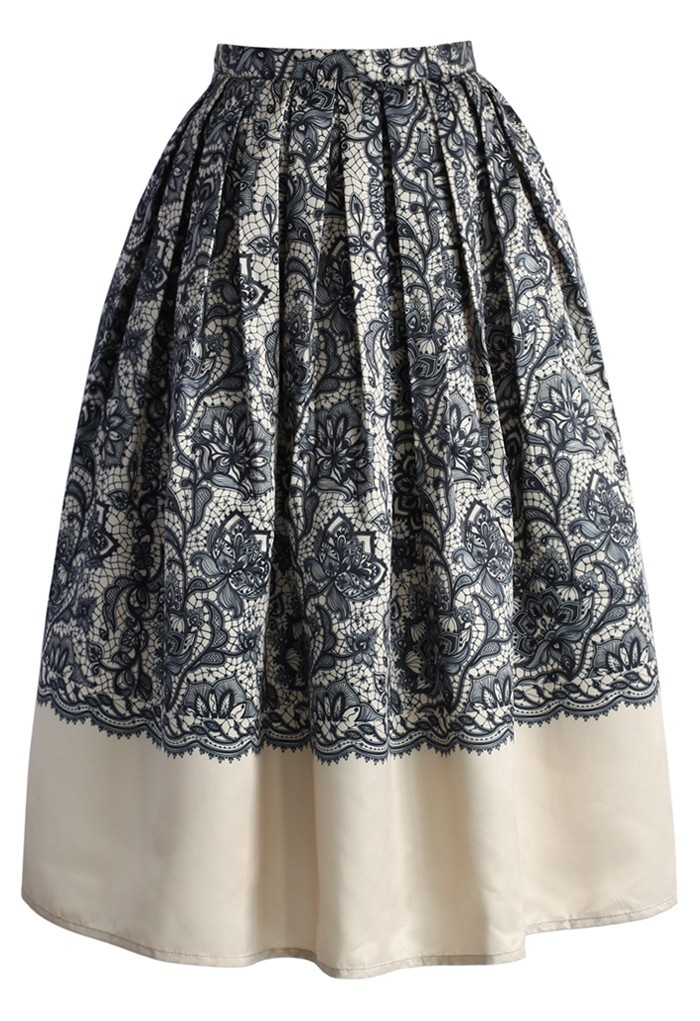 Lace Fantasy Pleated Midi Skirt in Beige - Retro, Indie and Unique Fashion