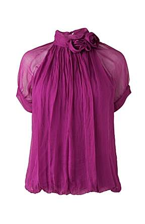 Phase eight silk flower blouse fuchsia