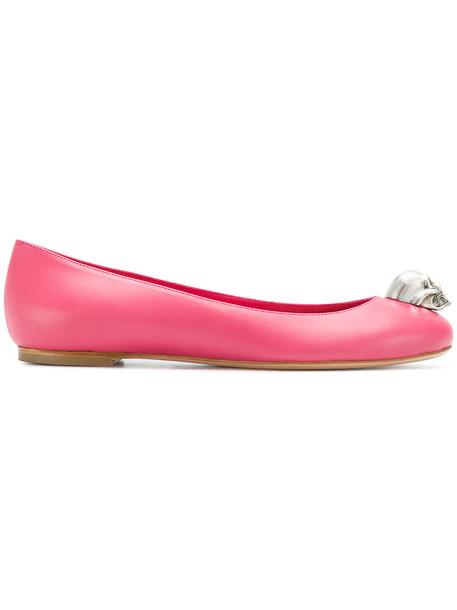 Alexander Mcqueen skull women leather purple pink shoes