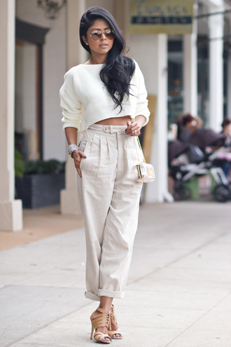pants pullover chanel beige pants classy tan white white top black hair nude white trousers beige beige jacket cropped sweater white sweater sweater white pullover my other bag is chanel chanel bag glasses adventure time glasses sunglasses beige trousers khaki pants khaki snake skin jewels white crop blouse summer shorts beach brown and black hair