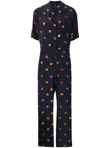 PS By Paul Smith jumpsuit women floral blue silk
