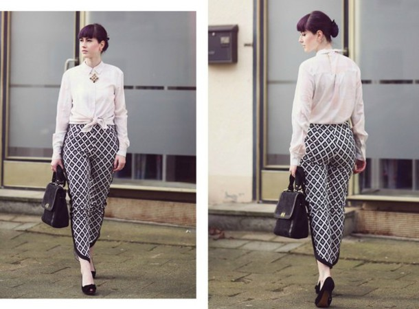 like a riot blogger blouse pants jewels bag shoes