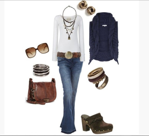 clogs shoes shirt jeans top high heels sweater long sleeve shirt white shirt vest sweater vest navy vest necklace charms belt pants rings bag bracelets bangles stacked bangles earrings stud earrings clothes outfit cowl neck