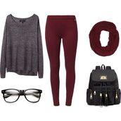 pants,burgundy,leggings,sweater,scarf,shirt,bag,sunglasses