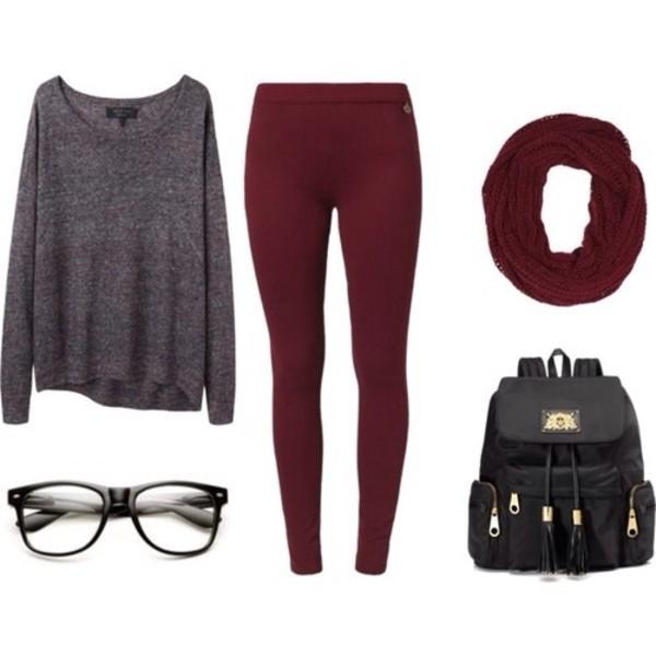 pants burgundy leggings sweater scarf shirt bag sunglasses