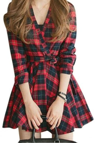 dress plaid red black long sleeves long sleeve plaid fit and flare dress fall outfits fashion style